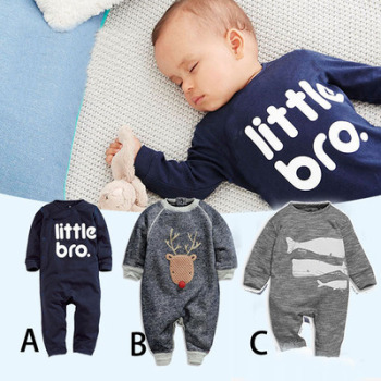 AA-BR organic cotton baby cute pajamas baby clothing sets 2017 winter baby boy rompers suit