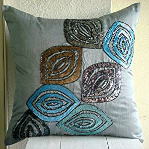"Luxury Blue Cushion Covers, Art Deco Floral Throw Pillow Covers, 12""x12"" Pillow Case, Art Silk Square Decorative Pillows Cover, Multi Color Abstract Peacock Feather Pillows Cover - Peacock Fun"