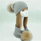 Women Autumn Winter Warm Real Raccoon Fur Pompom Scarf Hat Sets Custom Knitted Women Winter Hat And Scarf Set