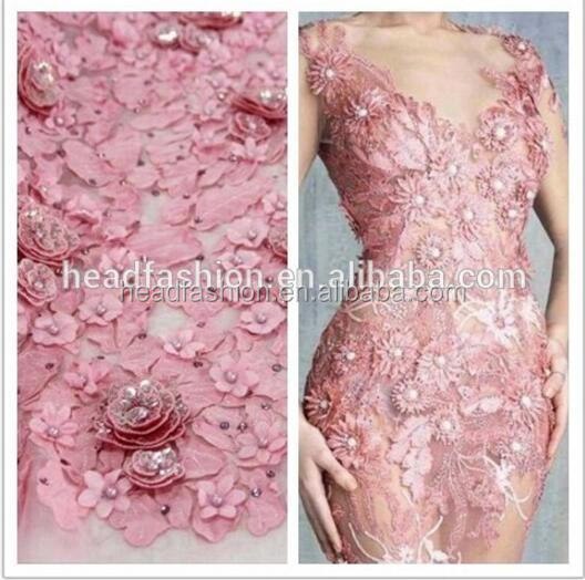 pink pearls tulle lace fabrics 3d flowers embroidery designs african french lace