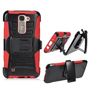 Phone Case for LG Treasure 4g LTE (Straight Talk) / LG Phoenix 2 (AT&T) / LG Escape 3 / LG K7 / LG M1 / Tribute 5 Red Edge Cover Stand Combo Holster