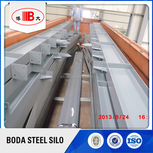 Soybean/rice/paddy rice/wheat/corn/maize galvanized storage steel silo with outside vertical stiffeners and steel supports