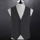 Reliable material 70% wool No Lapel grey stripers four buttons Men's wedding waistcoat for man