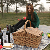 2016 Handmade Rattan Basket Wicker Picnic Basket For 2 Person ...