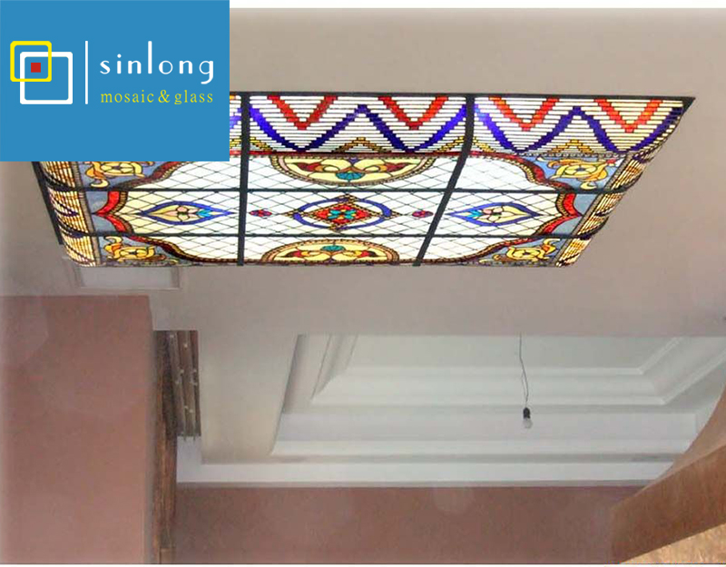 Middle east arabic stained glass ceiling dome with metal frame