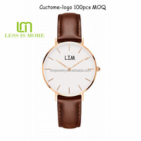 Low moq custom logo make classical design water resistant genuine leather watch for man & woman