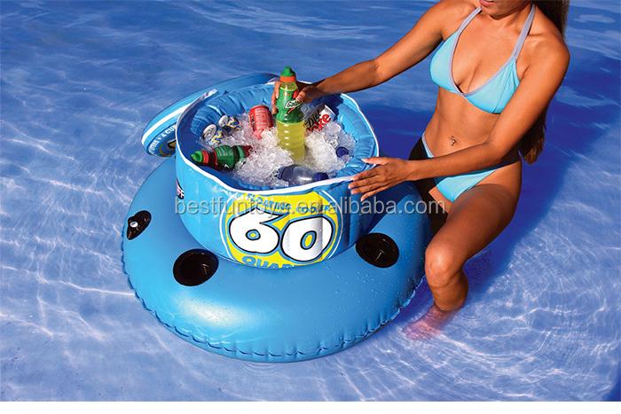 Inflatable Floating Cooler Ice Bucket Beer Holder Plastic ...