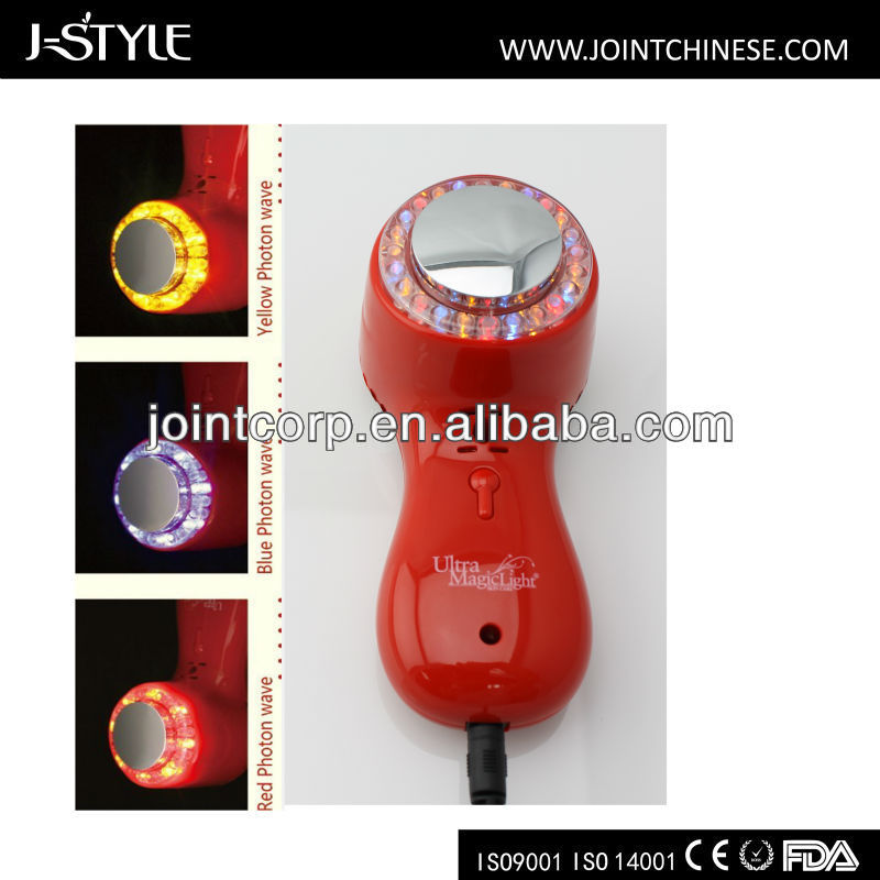 J-style Ultrasonic, red,blue and yellow light therapy Beauty salon Device for facial beauty