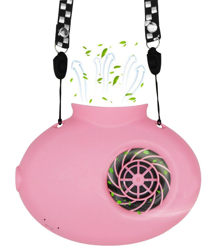 Necklace Fan Normei Battery Operated Mini Protable USB Rechargeable Fan Powered by 2200mAh Battery For Personal Cooling Kids Camping Walking Travel Outdoor with String Pink