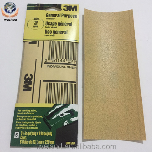 320 grit 3m aluminium oxide sandpaper for Wood, paint, filler, soft metal
