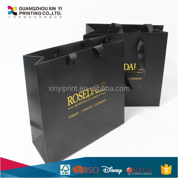 shopping/gift/bakery cheap flat handle kraft paper bag with logo print