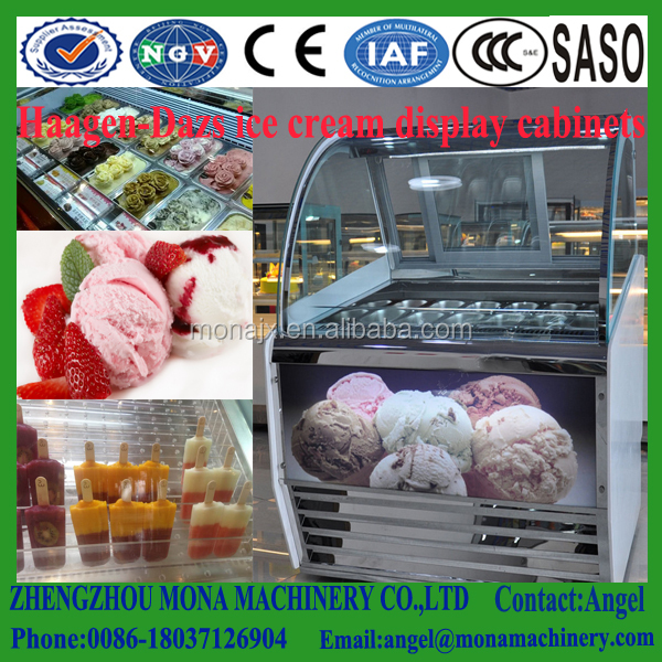 Competitive price curved Glass stainless steel ice cream display showcase