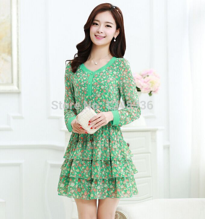 Vestidos De Fiesta Time-limited Natural Full Women Dress 2014 In The Korean Version Of And Chiffon Long Sleeve Dress New Layered