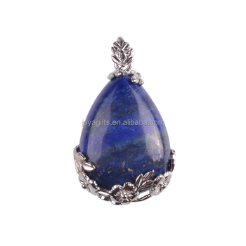 2017 Hot Sale Waterdrop Shaped Natural Stone Lapis Lazuli Sterling Silver Pendant for Woman Accessories