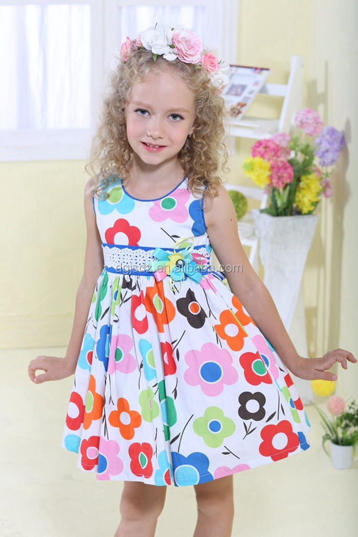 06e9d3bf8 2015 Latest Design Kids Casual Dresses Flower Pattern Children ...