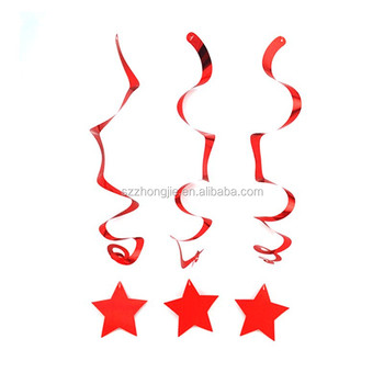 Red Star Foil Swirl Ceiling Decoration Home Party