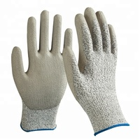 13G Nylon and HPPE and Glassfiber liner coated pu cut resistant level 5 working gloves