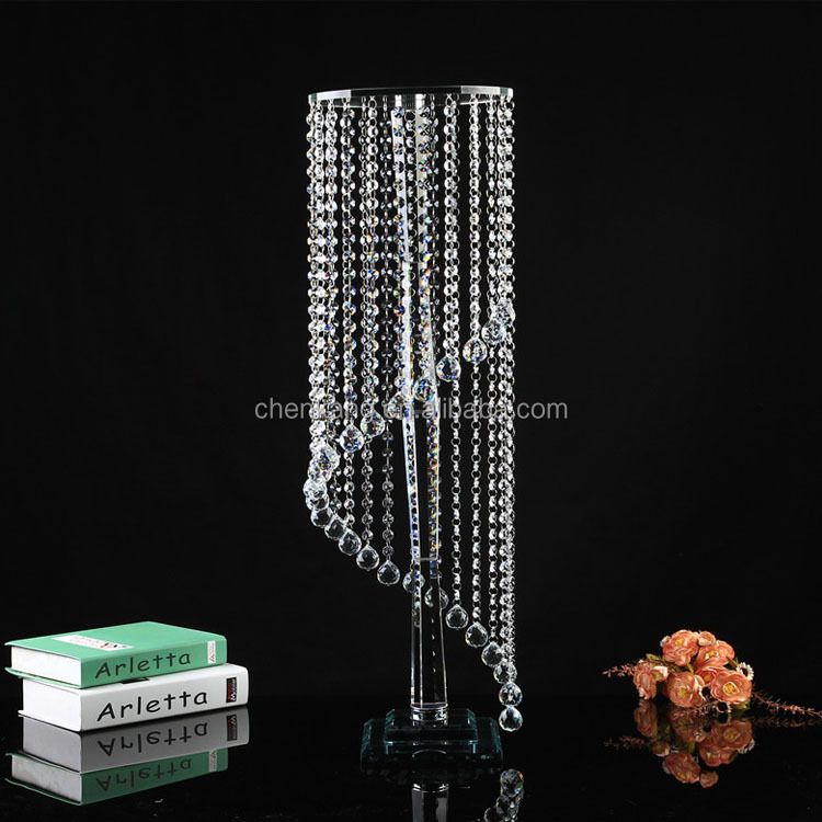 decorative glass pillars crystal flower stand for wedding & party decoration