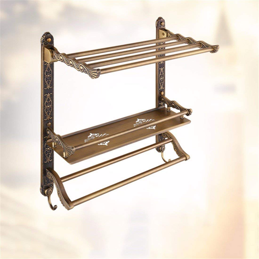 LAONA Continental antique carved bathroom accessory kit wall-mounted racks folding towel rack, built-in shelf 2