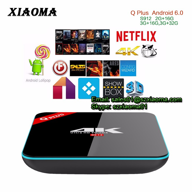 Wholesale Q Plus 2GB 16GB WIFI 2.4G+5G Bluetooth 4.0 CPU <strong>Amlogic</strong> S912 8 core Q-Plus android <strong>TV</strong> <strong>BOX</strong>