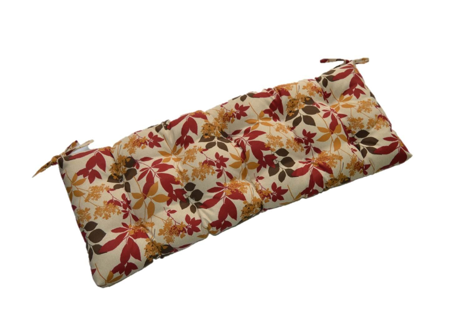 """Golden Yellow, Red, Brown, Cream Floral Print Indoor / Outdoor Tufted Cushion for Bench, Swing, Glider - Choose Size (72"""" x 18"""")"""