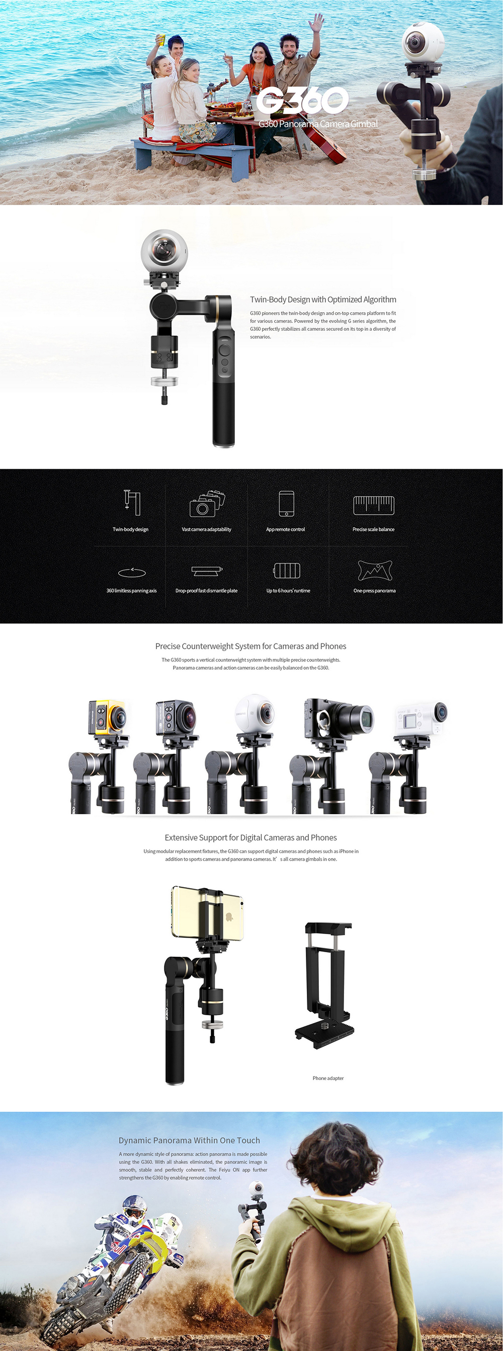Feiyu G360 Handheld Gimbal Stabilizer video 3-axis steadicam for iPhone  Sumsung HuaWei Gopro 360 panoramic camera