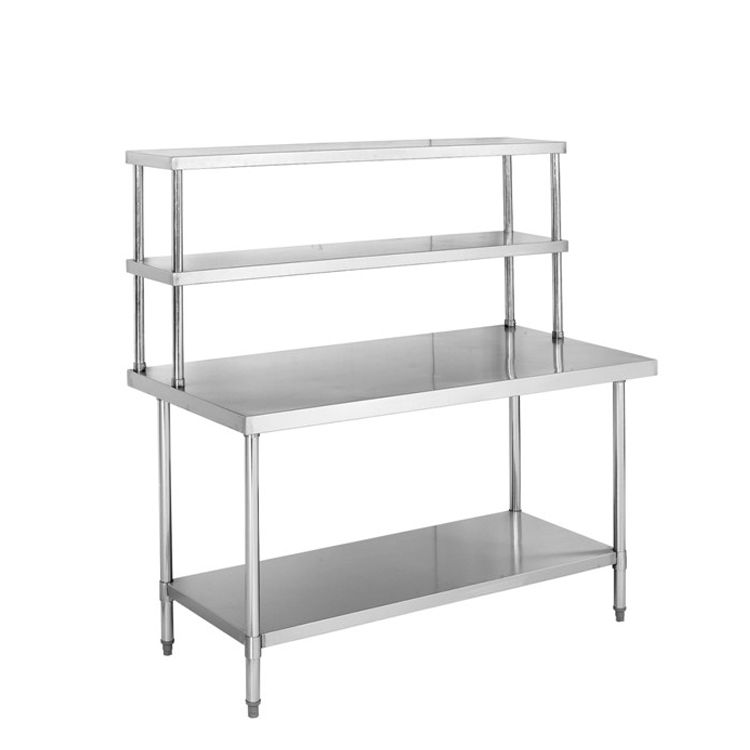 S010 Stainless Steel Work Table With Double Overshelf