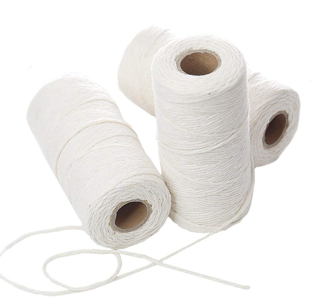 Penta Angel 300 Yards White DIY Craft Decoration Kitchen Natural Cotton Cooking Twine Food Packaging String Trussing Tying Poultry Meat Making Sausage, 3PCS