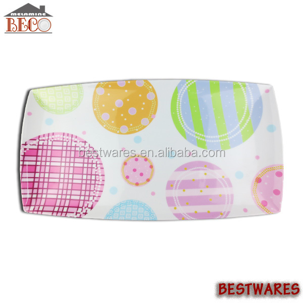 Specialized pattern decorative melamine serving tray without handle