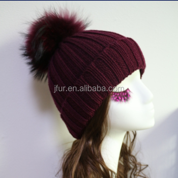 Hot Style Burgundy Hat Natural Raccoon Fur Pom Poms Knitted Beanie ... 1ae06a9bbab