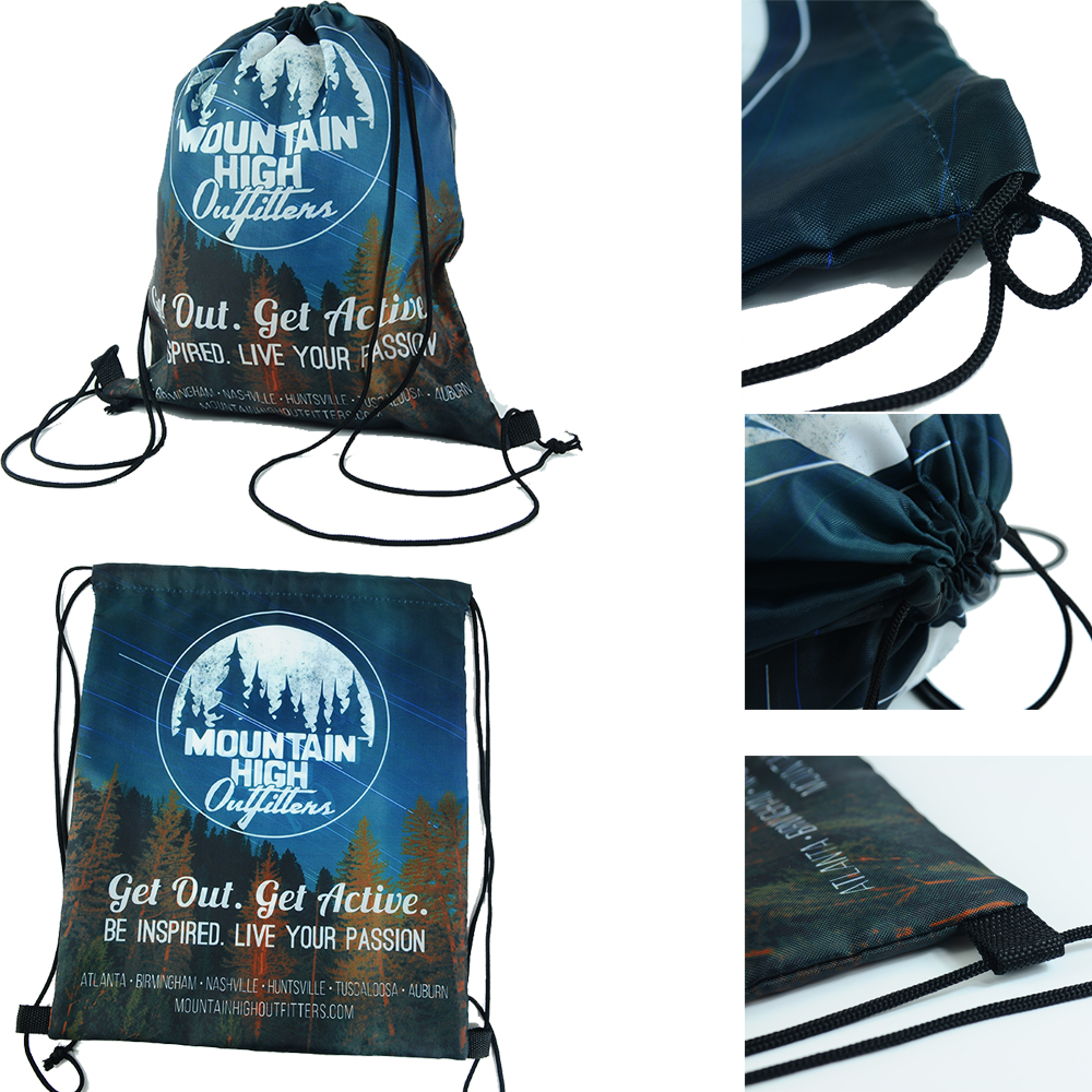 Full color sublimation printed polyester drawstring bags with your own design