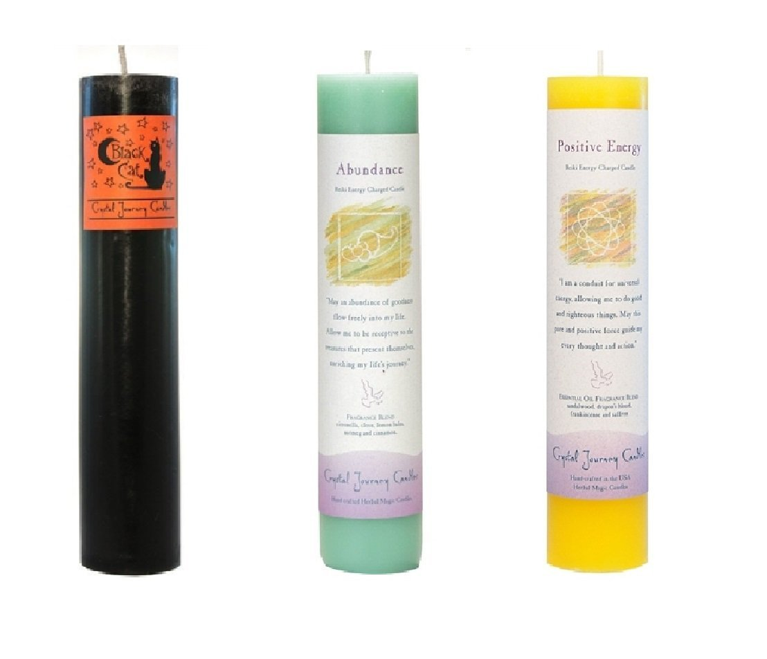 Crystal Journey Reiki Charged Herbal Magic Pillar Candle Bundle (Black Cat, Abundance, Positive Energy)