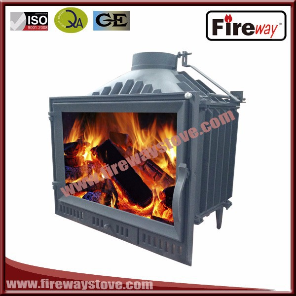 Nice indoor 14 kw cast iron wooden crate packed wood burning fireplace