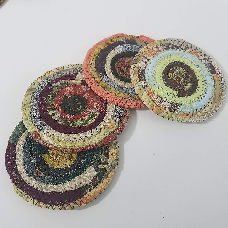 Fabric Coasters Earth Tones, Handmade Colors Will Vary, Upcycled Set of 4 Cloth Bohemian Drinkware Coasters