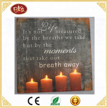 Candle light up wall art Wall Decor Battery Operated light up candle wall picture