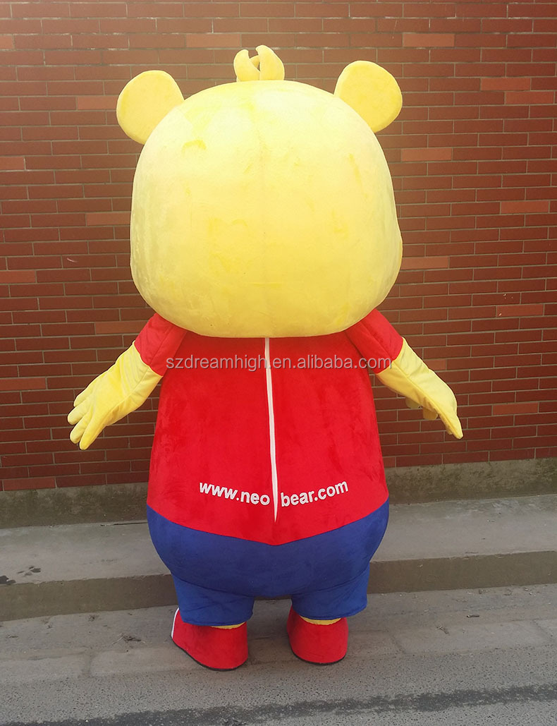 Commercial plush cute bear costume mascot, bear costume for running event