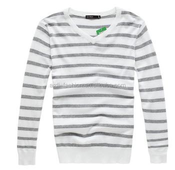 2015 Spring Summer V Neck Black White Striped Mens Sweater Buy