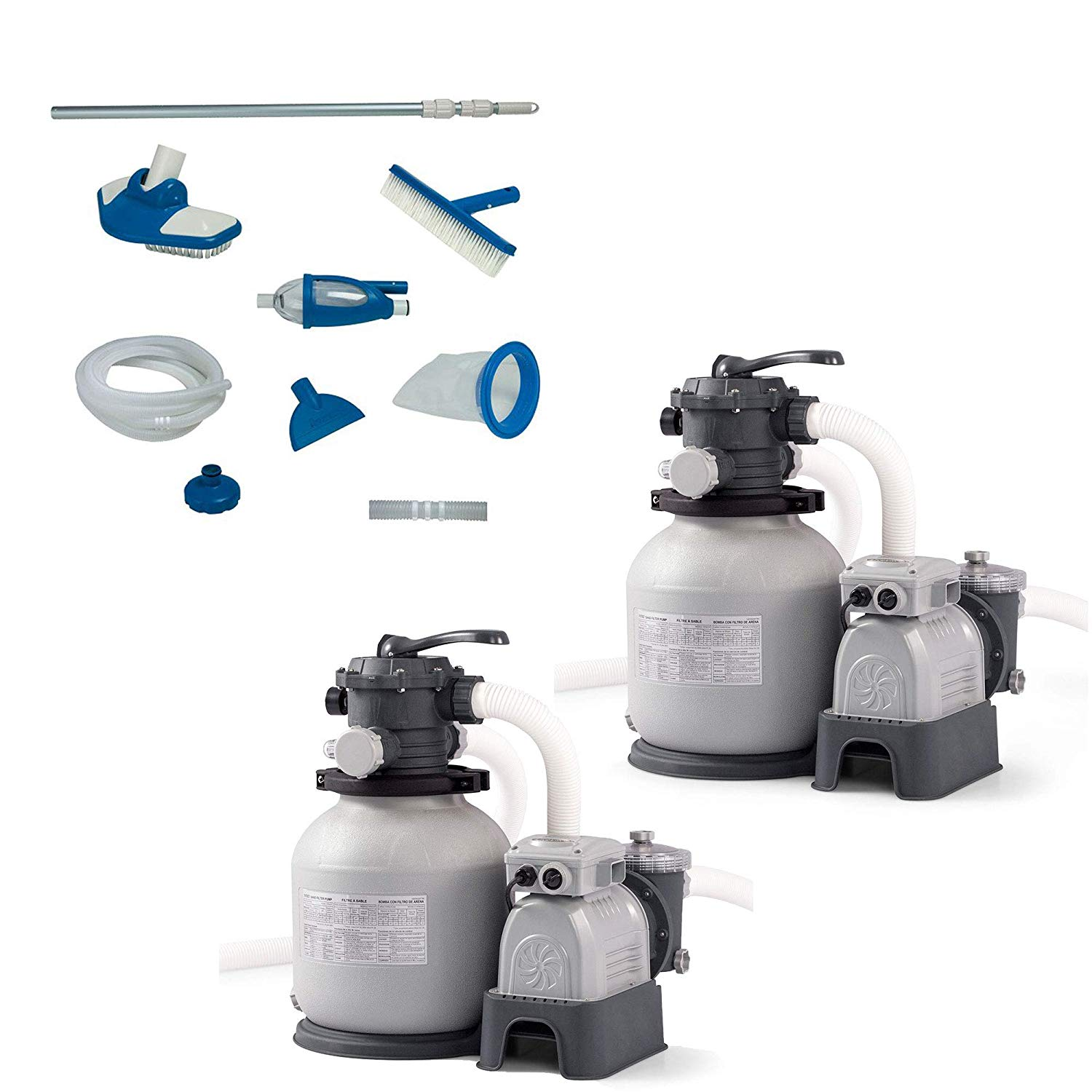 Intex Deluxe Pool Maintenance Kit w/Vacuum & Pole w/Sand Filter Pump (2 Pack)