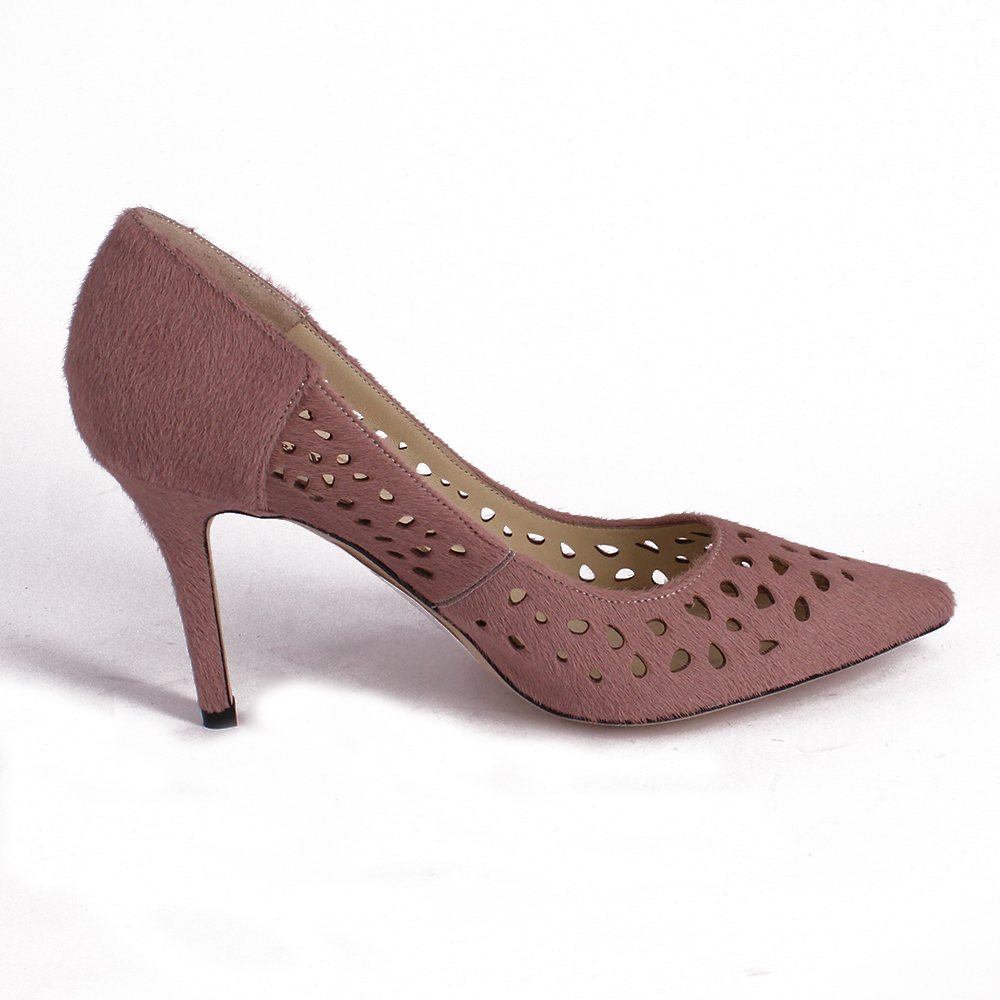 Hair High Laser For Nude Horse Heels Out Toe Burn Holey Shoes Thin Pumps Pierced Women Pointed Fur WT8wOfqT