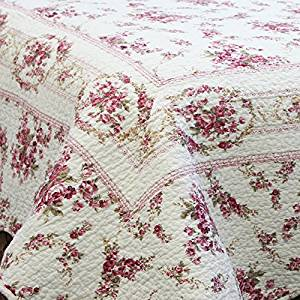 """SHABBY CHIC KING Size HAND- QUILTED QUILT """"Country Vintage Rose"""" 3 Piece Set (Size 106"""" X 92"""") 100 % COTTON"""