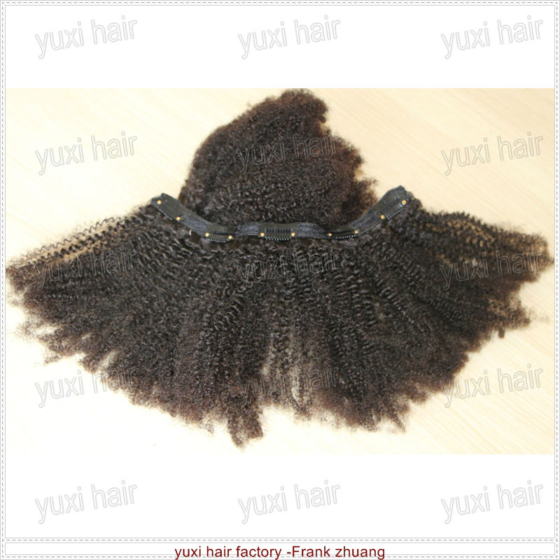 Virgin Mongolian afro kinky curly clip in hair extensions for african american