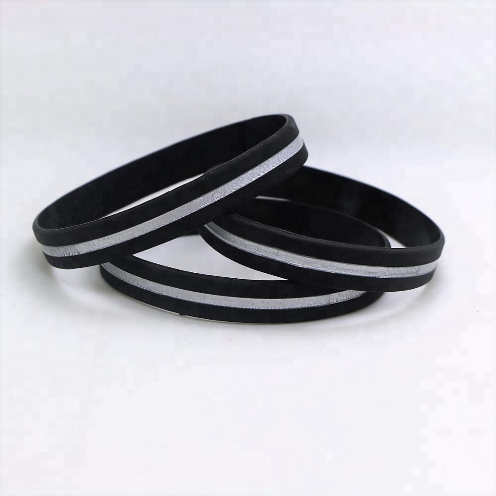 Thin Silver Line Wristband Silicone Correctional Officer Bracelet