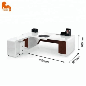 L shape piano white and black color table executive ceo office desk