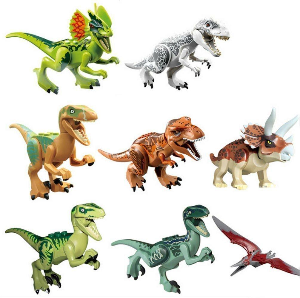 "Oliadesign 8 PCS Set 3"" Dinosaur Minifigures Dinosaur Building Blocks ABS"