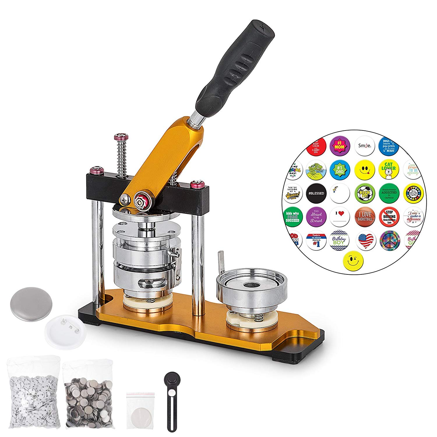 Plastice Adjustable Circle Cutter+100 Sets Metal Pinback Supply Badge Holder & Accessories Official Website New Professional N4 2 50mm Badge Button Maker Machine
