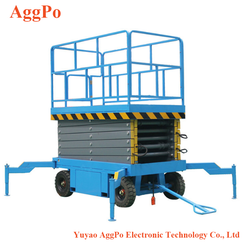 Mobile lift ไฮดรอลิก, electric scissor 4 m 20 m แบตเตอรี่ self propelled scissor lift platform