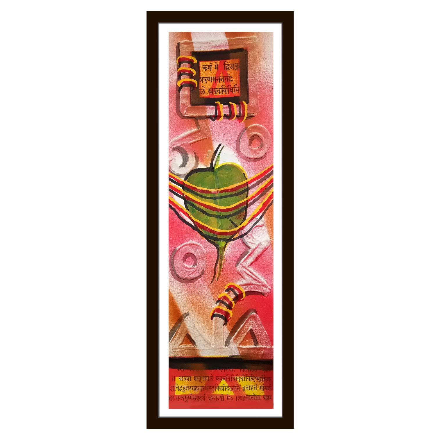 Handmade Wall Décor 3d Clay Painting On Plastic Paper with Natural Colors Wall Hanging Painting - The Theme Of Real Peepal Tree Leaf with House-Warming & Sanskrit Shlok Use For Wall Décor & Gifting