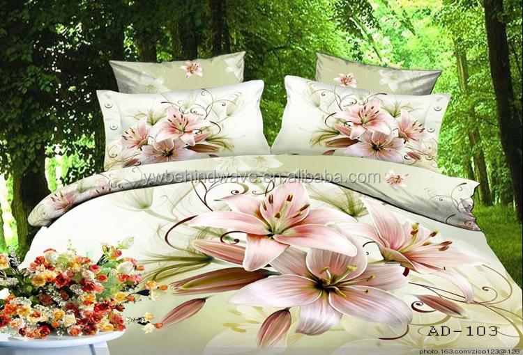 Big Flower Design Custom Printed Indian 3d Cotton Bed Sheet Wholesale