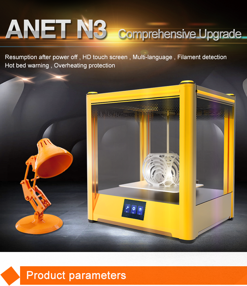 New products anet N3 desktop digital high resolution 3d printer with 13 languages
