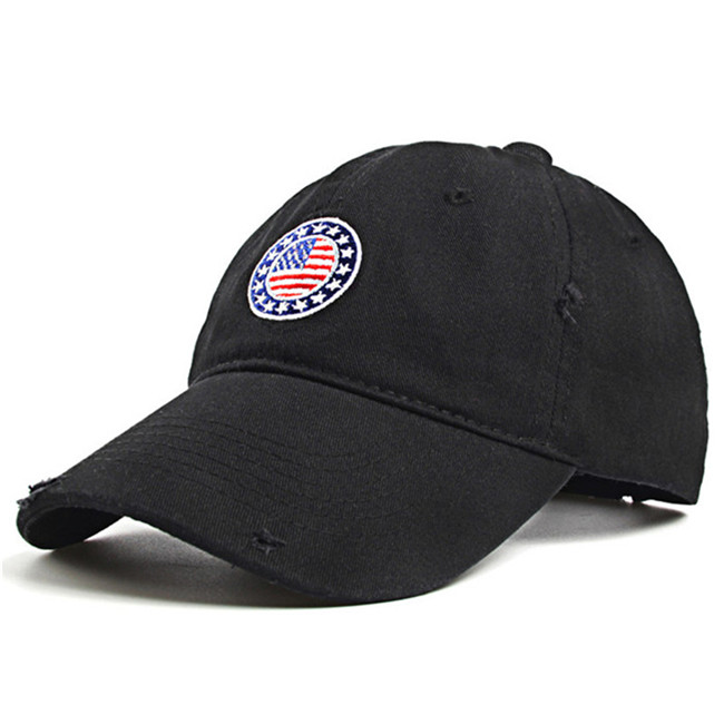 Reasonable shape black 100% cotton material embroidery baseball <strong>cap</strong>